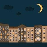 Ciudad colorida en la noche Imagenes de archivo