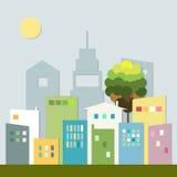 Ciudad colorida moderna con horizontes Concepto vivo sano Imagen de archivo libre de regalías