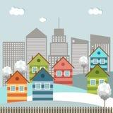 Ciudad colorida moderna, tema del invierno Imágenes de archivo libres de regalías