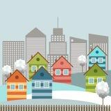 Ciudad colorida moderna, tema del invierno Fotos de archivo libres de regalías