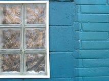 Ciudad colorida - ventana de la turquesa Fotos de archivo libres de regalías