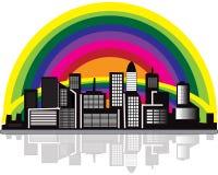 Ciudad con el arco iris Fotos de archivo libres de regalías