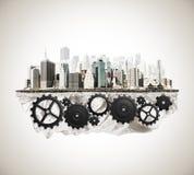 Ciudad con el mecanismo de la rueda dentada Imágenes de archivo libres de regalías