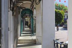 Ciudad con las linternas chinas Foto de archivo