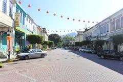 Ciudad con las linternas chinas Imágenes de archivo libres de regalías