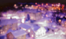 Ciudad con las luces del bokeh en la noche Imagen de archivo libre de regalías