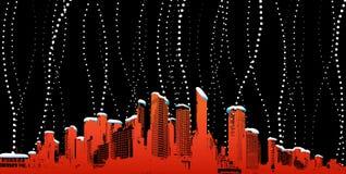 Ciudad con las nevadas. Arte del vector Fotografía de archivo libre de regalías