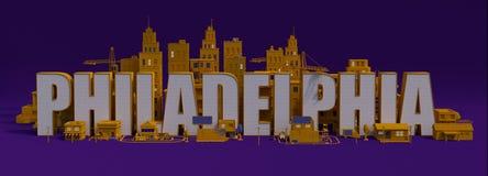 ciudad con los edificios, nombre de la representación 3d de letras de New York City stock de ilustración