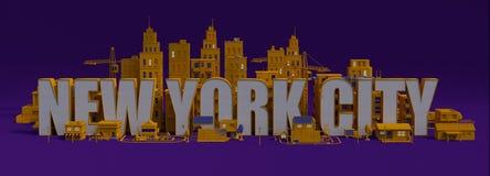 ciudad con los edificios, nombre de la representación 3d de letras de New York City ilustración del vector