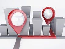 Ciudad con los indicadores del mapa concepto de los gps Fotografía de archivo libre de regalías