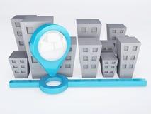 Ciudad con los indicadores del mapa concepto de los gps Imagen de archivo libre de regalías