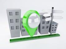 Ciudad con los indicadores del mapa concepto de los gps Fotos de archivo libres de regalías