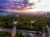 Ciudad de墨西哥- Reforma大道日落射击 免版税库存照片