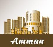Ciudad de Amman Jordan Famous Buildings stock de ilustración