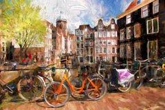 Ciudad de Amsterdam en Holanda, ilustraciones en estilo de la pintura Fotos de archivo