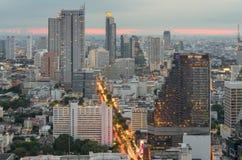 Ciudad de Bangkok en polvo en el distrito financiero Foto de archivo libre de regalías