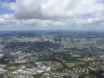 Ciudad de Brisbane de la visión aérea Fotografía de archivo libre de regalías