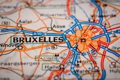 Ciudad de Bruselas en un mapa de camino Foto de archivo libre de regalías