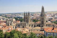 Ciudad de Burgos y de la catedral Imagen de archivo libre de regalías