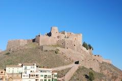 Ciudad de Cardona con el castillo Imágenes de archivo libres de regalías