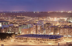 Ciudad de Cartagena en la noche, Murcia, España Imagen de archivo