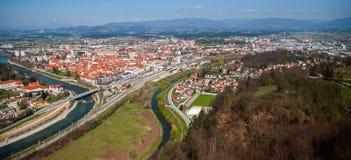Ciudad de Celje, panorama, Eslovenia Imagen de archivo