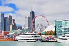 Ciudad de Chicago céntrica Imágenes de archivo libres de regalías