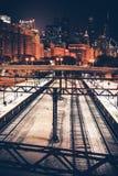 Ciudad de Chicago en la noche foto de archivo