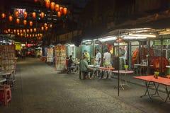 Ciudad de China en Kuala Lumpur por noche foto de archivo libre de regalías