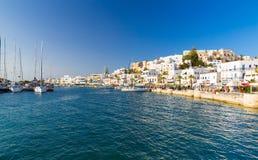 Ciudad de Chora, isla de Naxos, Cícladas, egeas, Grecia imagenes de archivo