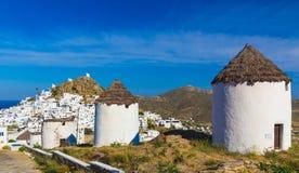 Ciudad de Chora, isla del IOS, Cícladas, egeas, Grecia Fotografía de archivo