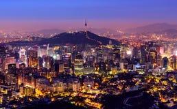 Ciudad de Corea, de Seul y torre namsan Imagen de archivo libre de regalías