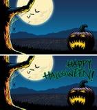 Ciudad de desatención de la Jack-o-linterna de Halloween en la noche stock de ilustración