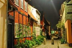 Ciudad de Dinamarca, Helsingor en la noche foto de archivo libre de regalías