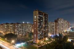 Ciudad de Doldoprudny en la noche Imagen de archivo libre de regalías