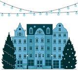 Ciudad de Europa de la Feliz Año Nuevo y de la Navidad Paisaje del invierno de la ciudad con el árbol de navidad Postal de la cel libre illustration