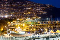 Ciudad de Funchal en la noche Fotografía de archivo