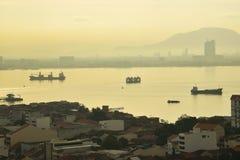 Ciudad de George, Penang antes de la puesta del sol Foto de archivo libre de regalías