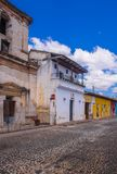 Ciudad de Guatemala, Guatemala, April, 25, 2018: Outdoor view of stoned street view of Antigua Guatemala, the historic stock photography