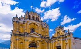 Ciudad de Guatemala, Guatemala, April, 25, 2018: View of Hermano Pedro church, typical street scene in Spanish colonial Stock Photography
