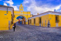 Ciudad de Guatemala, Guatemala, April, 25, 2018: Outdoor view of Santa Catalina arch and the main street of Antigua city. At sunny day in Guatemala Stock Photo
