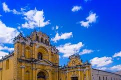 Ciudad de Guatemala, Guatemala, April, 25, 2018: View of Hermano Pedro church, typical street scene in Spanish colonial Stock Photos