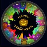 Ciudad de Halloween y fondo redondos de la linterna Imagen de archivo libre de regalías
