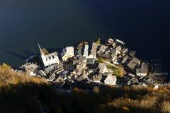 Ciudad de Hallstatt en Austria desde arriba Imagen de archivo libre de regalías