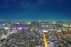 Ciudad de Ho Chi Minh en la noche Fotografía de archivo