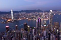 Ciudad de Hong-Kong en la noche Fotos de archivo