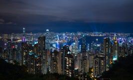 Ciudad de Hong-Kong en la noche foto de archivo