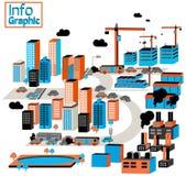 Ciudad de industrial y de la contaminación con los edificios, fábrica, constr ilustración del vector
