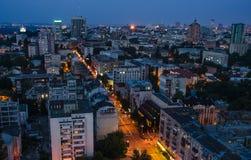 Ciudad de Kiev de la noche, Ucrania Imagenes de archivo