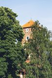 Ciudad de Kraków en Polonia, plaza principal en la ciudad vieja imagenes de archivo